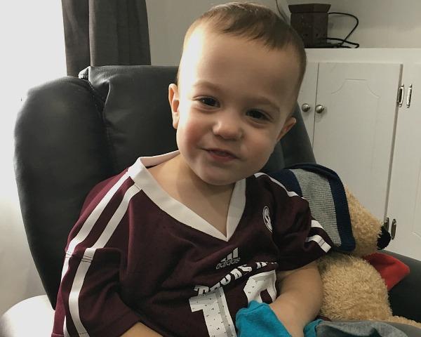 Gavin cheering on Texas A&M | rainerlife.com