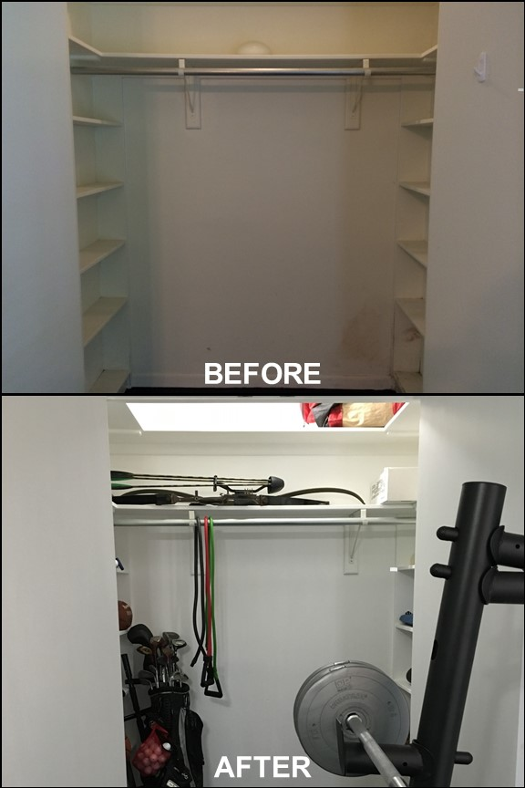 Home Gym Closet {Before & After} | rainerlife.com