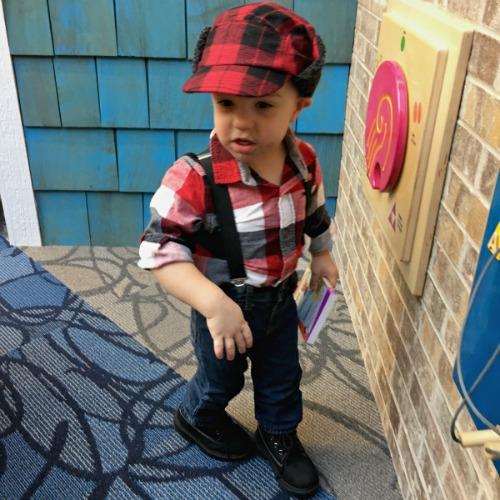 Gavin as a lumberjack {Halloween} | rainerlife.com