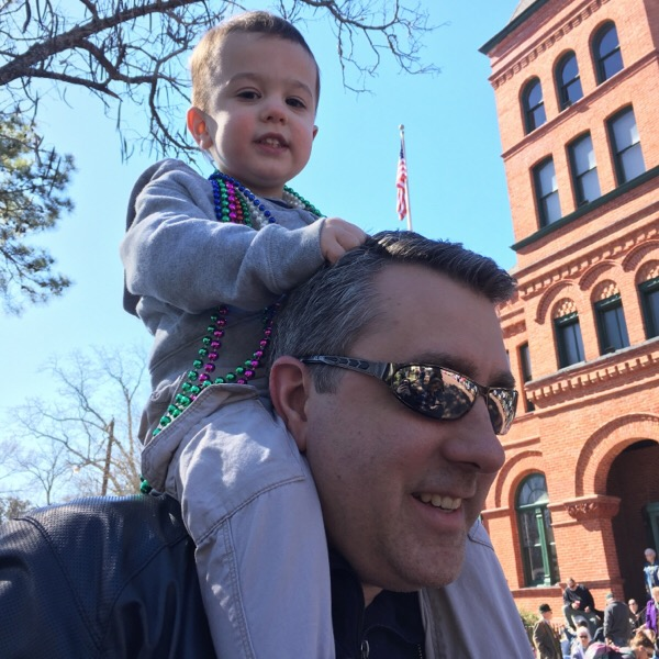 Gavin & Michael at Mardi Gras parade | rainerlife.com