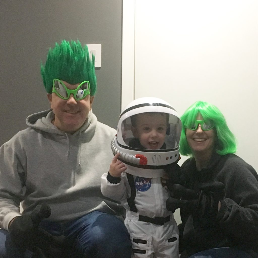 Gavin as an astronaut, Michael and Darinda as aliens | rainerlife.com